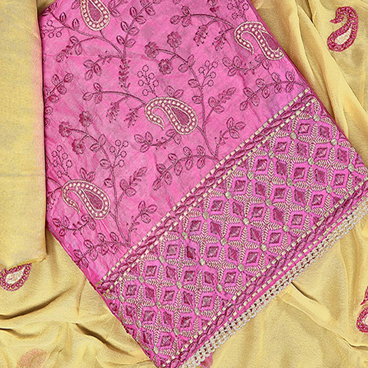 Magnetic Pink Colored Partywear Embroidered Chanderi Silk Dress Material