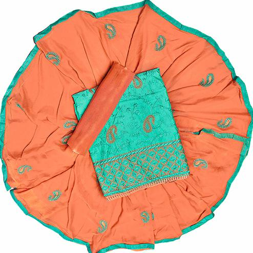 Refreshing Turquoise Green Colored Partywear Embroidered Chanderi Silk Dress Material