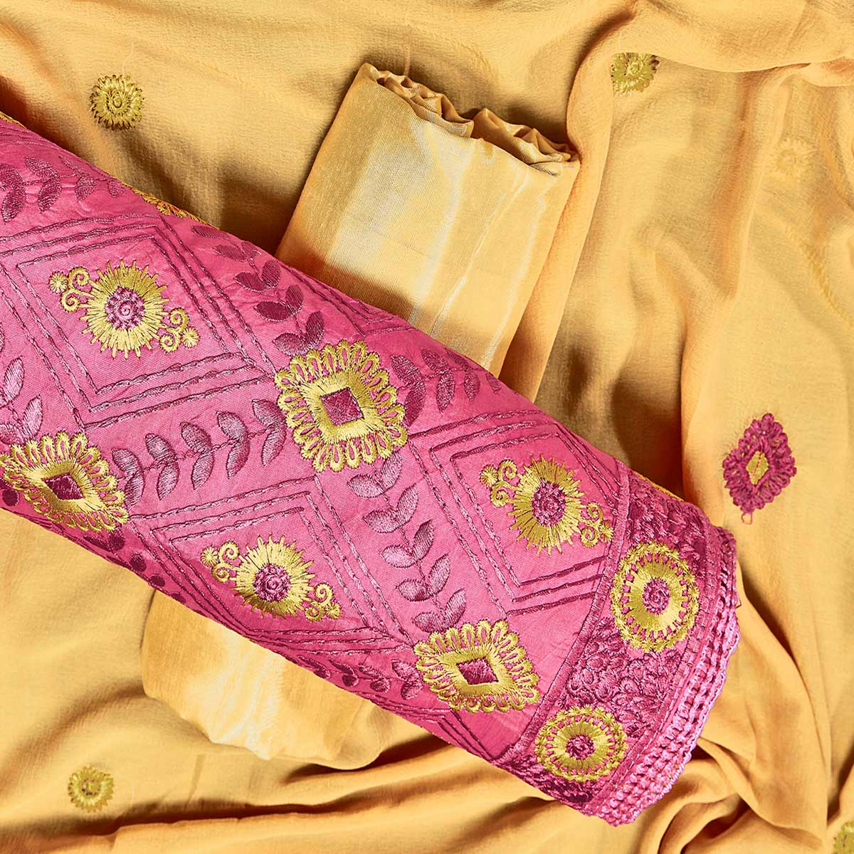 Mesmeric Pink Colored Partywear Embroidered Chanderi Silk Dress Material