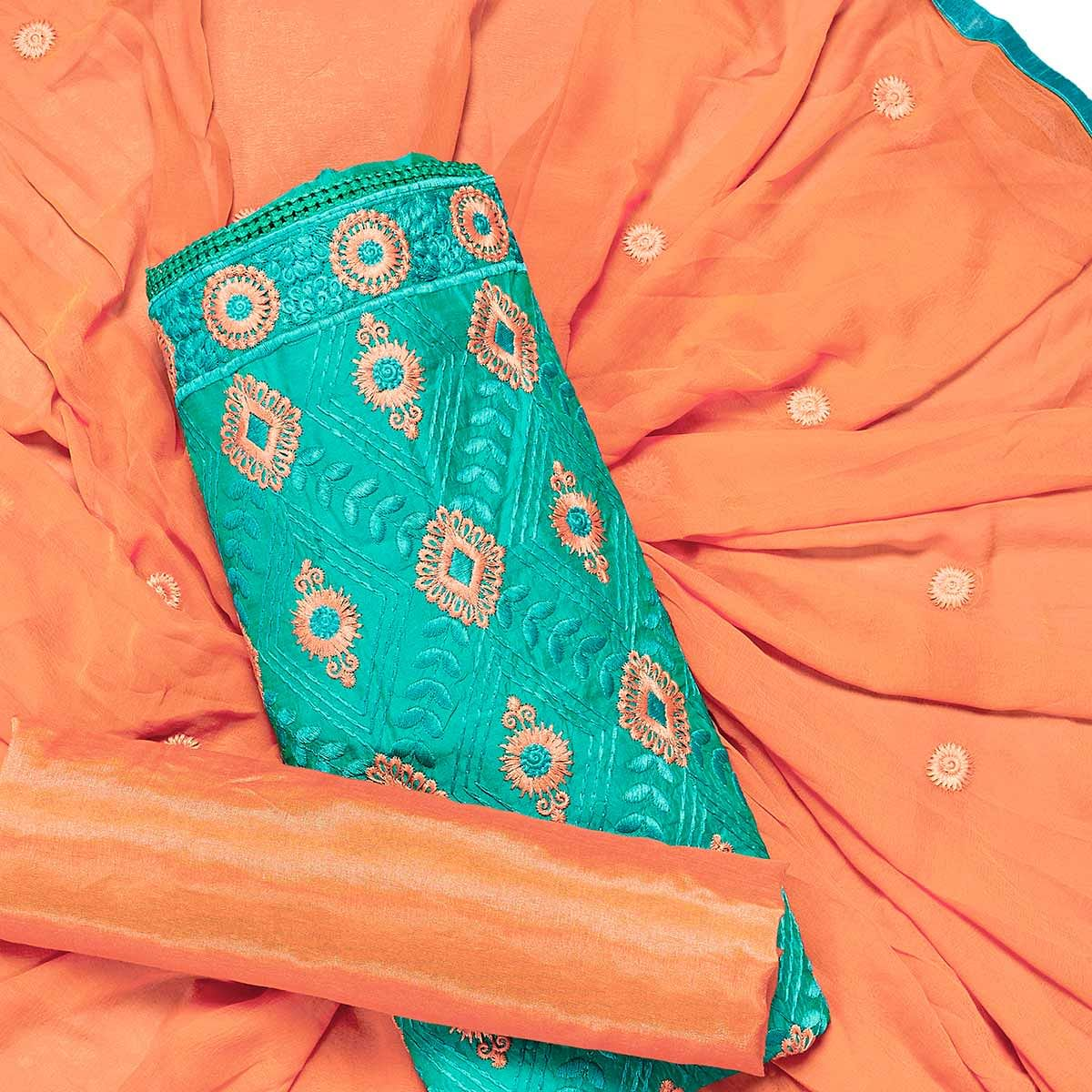 Glowing Turquoise Green Colored Partywear Embroidered Chanderi Silk Dress Material