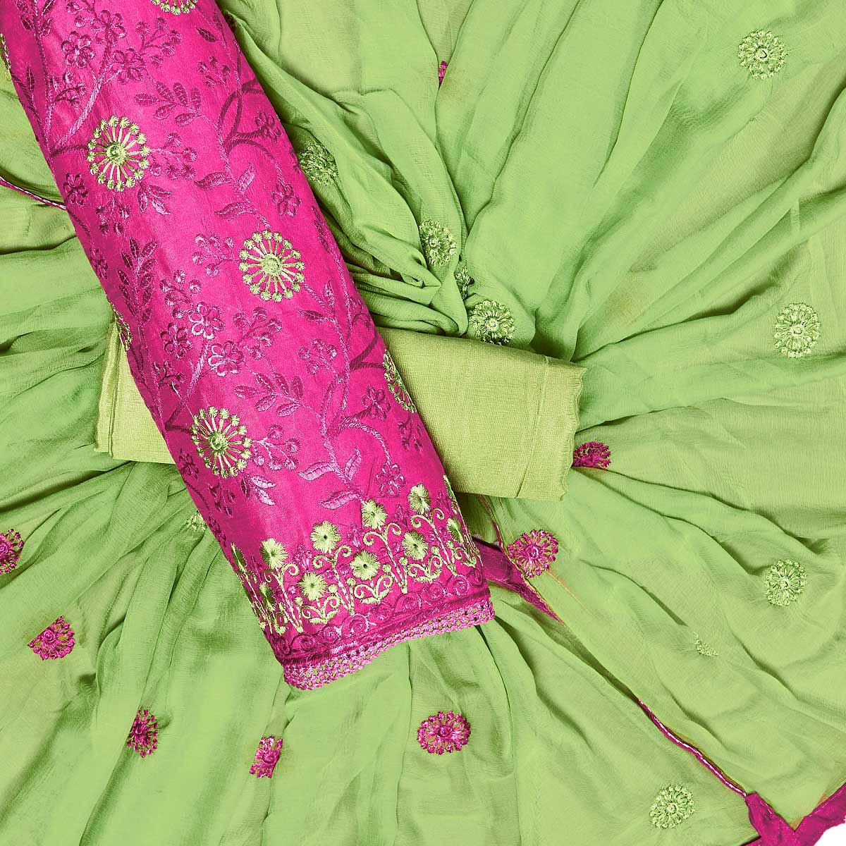 Energetic Pink Colored Partywear Embroidered Chanderi Silk Dress Material