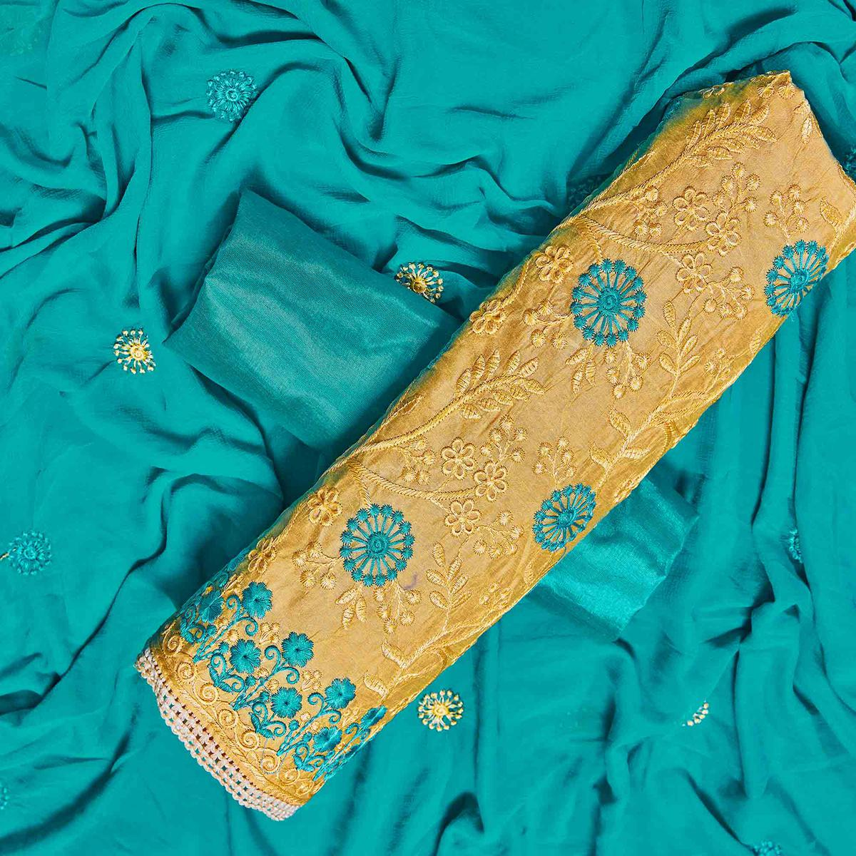 Opulent Mustard Yellow Colored Partywear Embroidered Chanderi Silk Dress Material