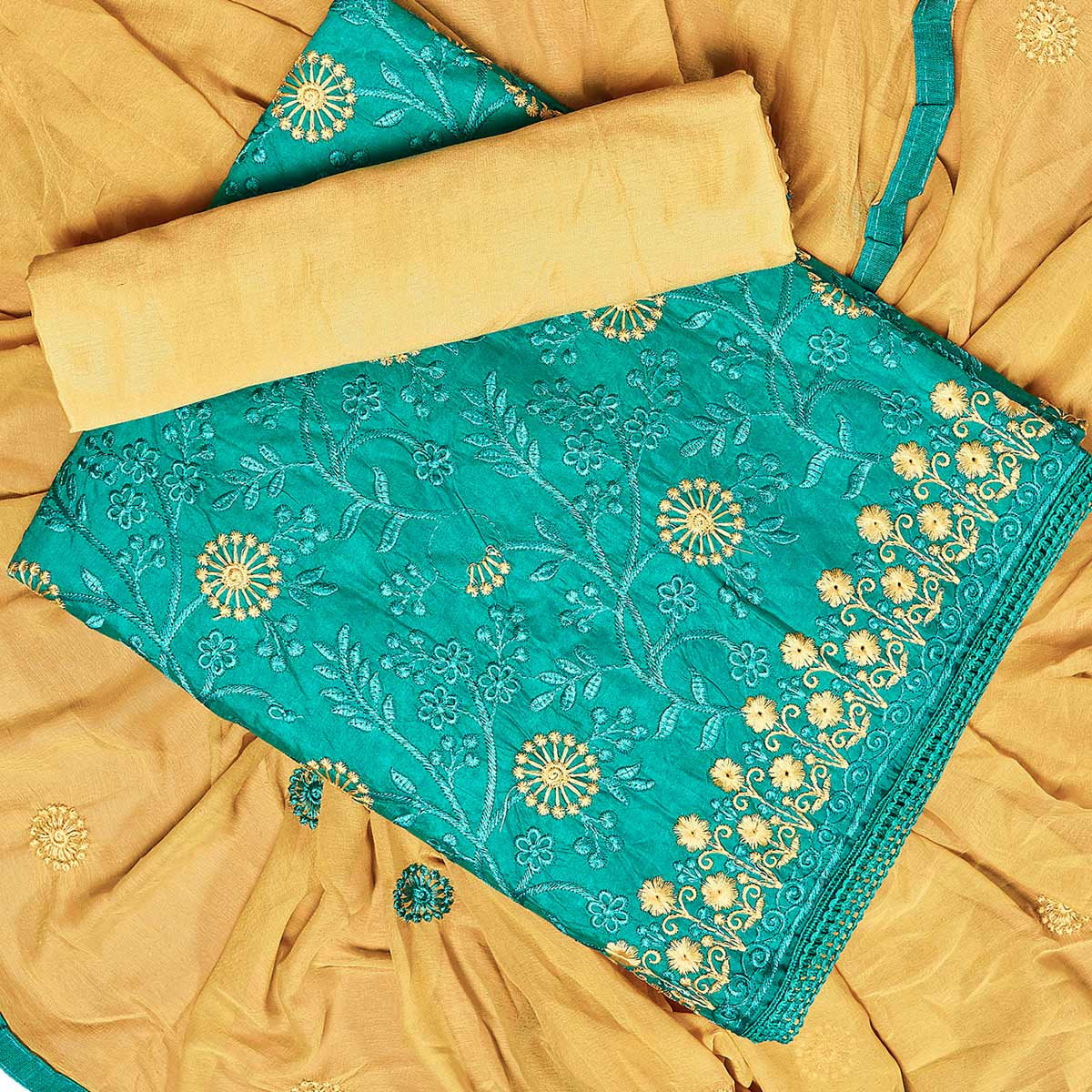 Pleasant Blue Colored Partywear Embroidered Chanderi Silk Dress Material