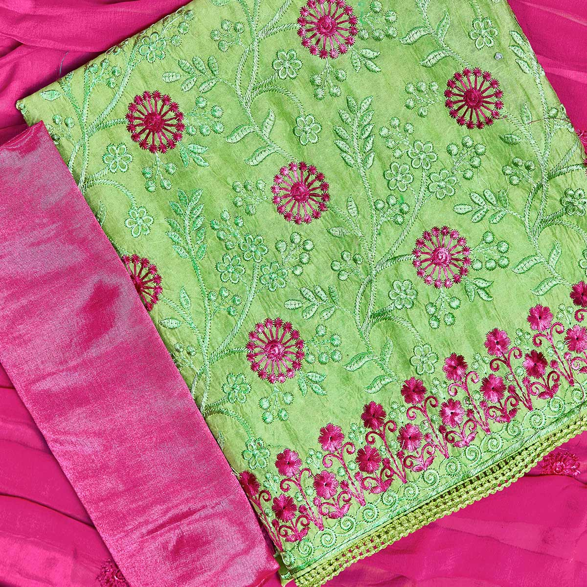 Radiant Green Colored Partywear Embroidered Chanderi Silk Dress Material