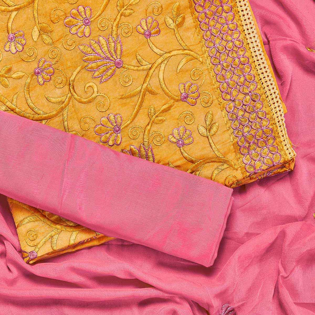 Sophisticated Yellow Colored Partywear Embroidered Chanderi Silk Dress Material