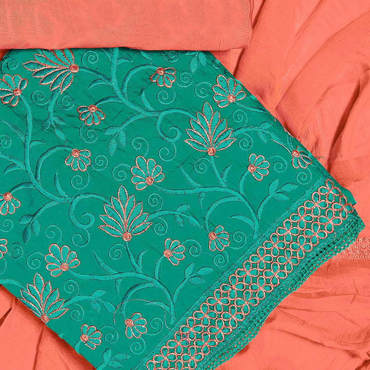 Exotic Turquoise Green Colored Partywear Embroidered Chanderi Silk Dress Material