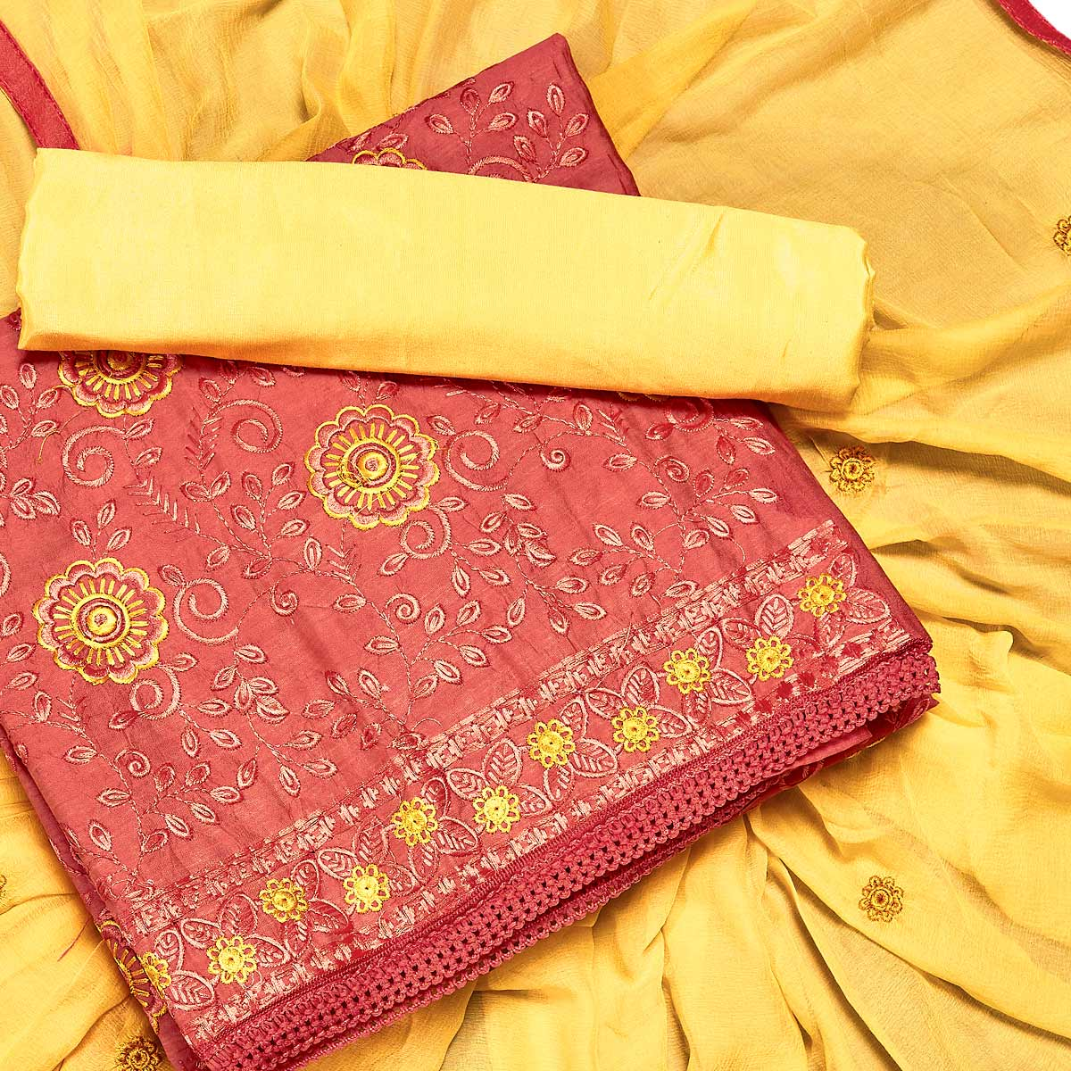 Intricate Red Colored Partywear Embroidered Chanderi Silk Dress Material