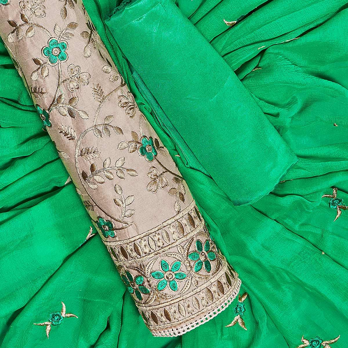 Entrancing Beige-Green Colored Partywear Embroidered Chanderi Silk Dress Material