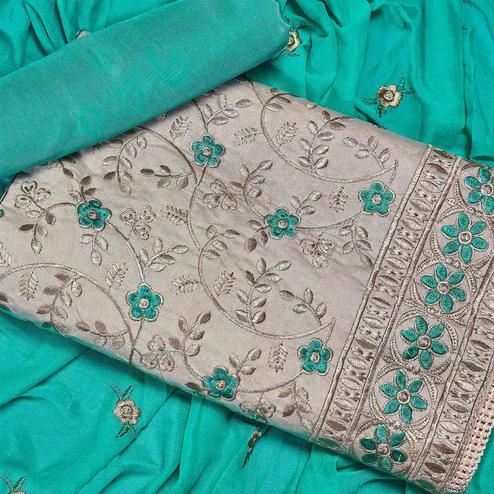 Groovy Beige-Blue Colored Partywear Embroidered Chanderi Silk Dress Material