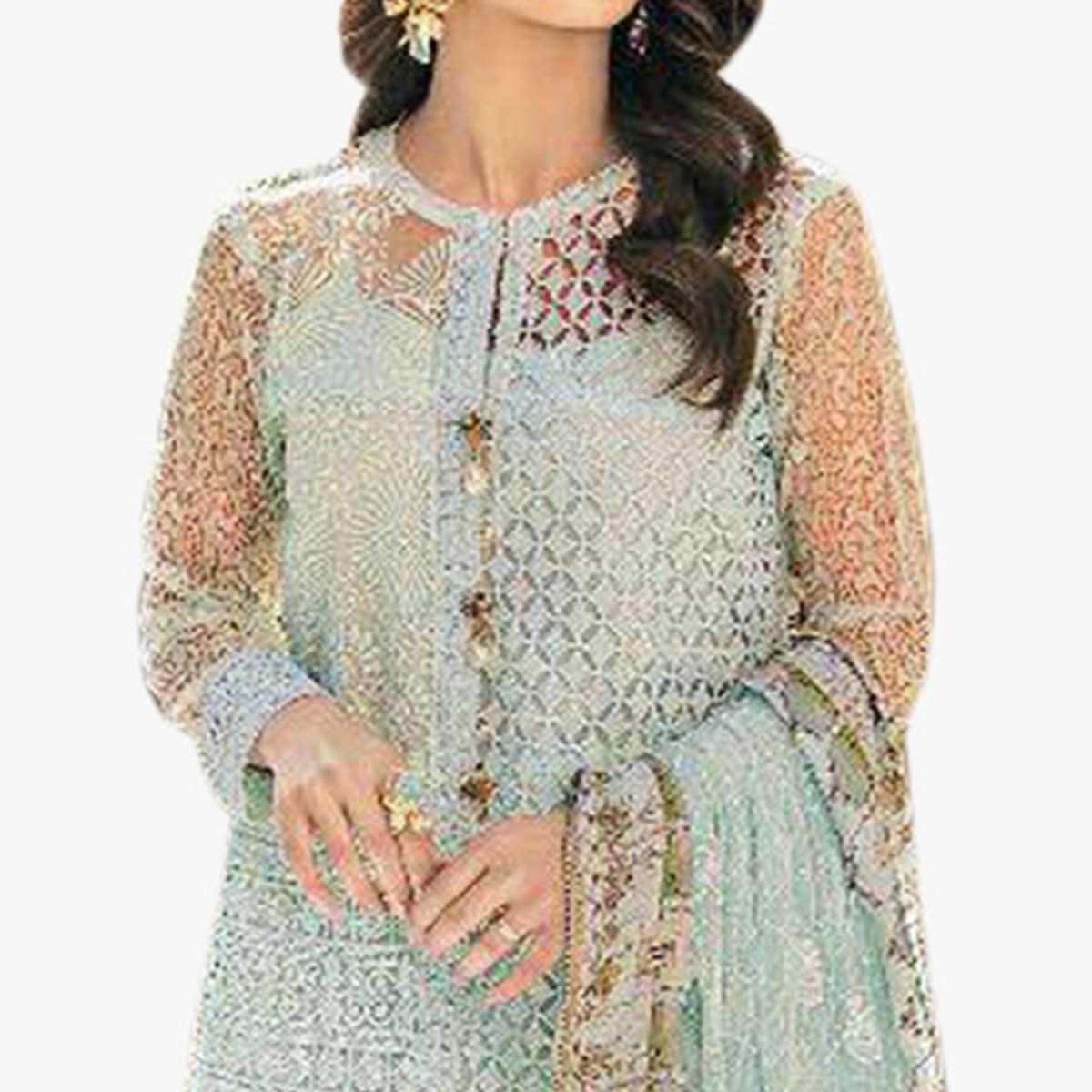 Appealing Aqua Blue Colored Partywear Embroidered Net Palazzo Suit