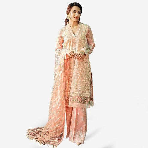 Capricious Peach Colored Partywear Embroidered Cotton Palazzo Suit