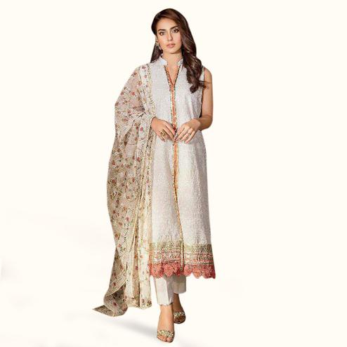 Entrancing White Colored Partywear Embroidered Cotton Suit