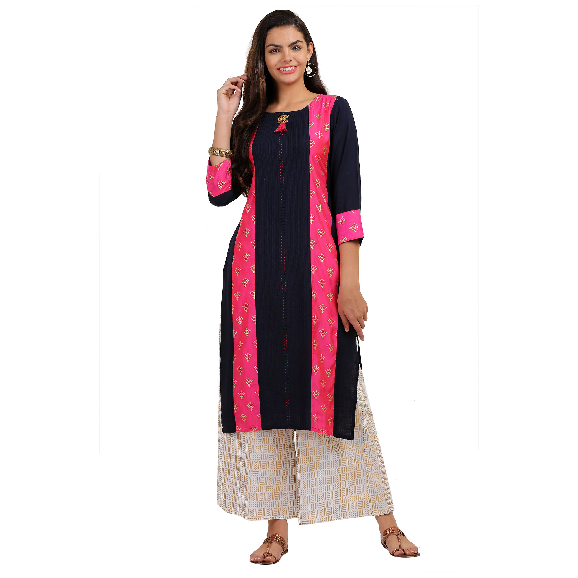 Opulent Navy Blue Colored Casual Printed Rayon Kurti