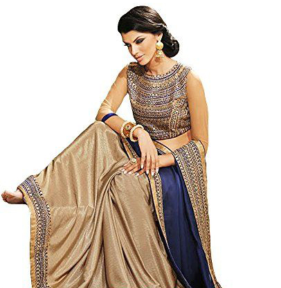 Dark Blue And Golden Designer Partywear Embroidered Chinnon Saree