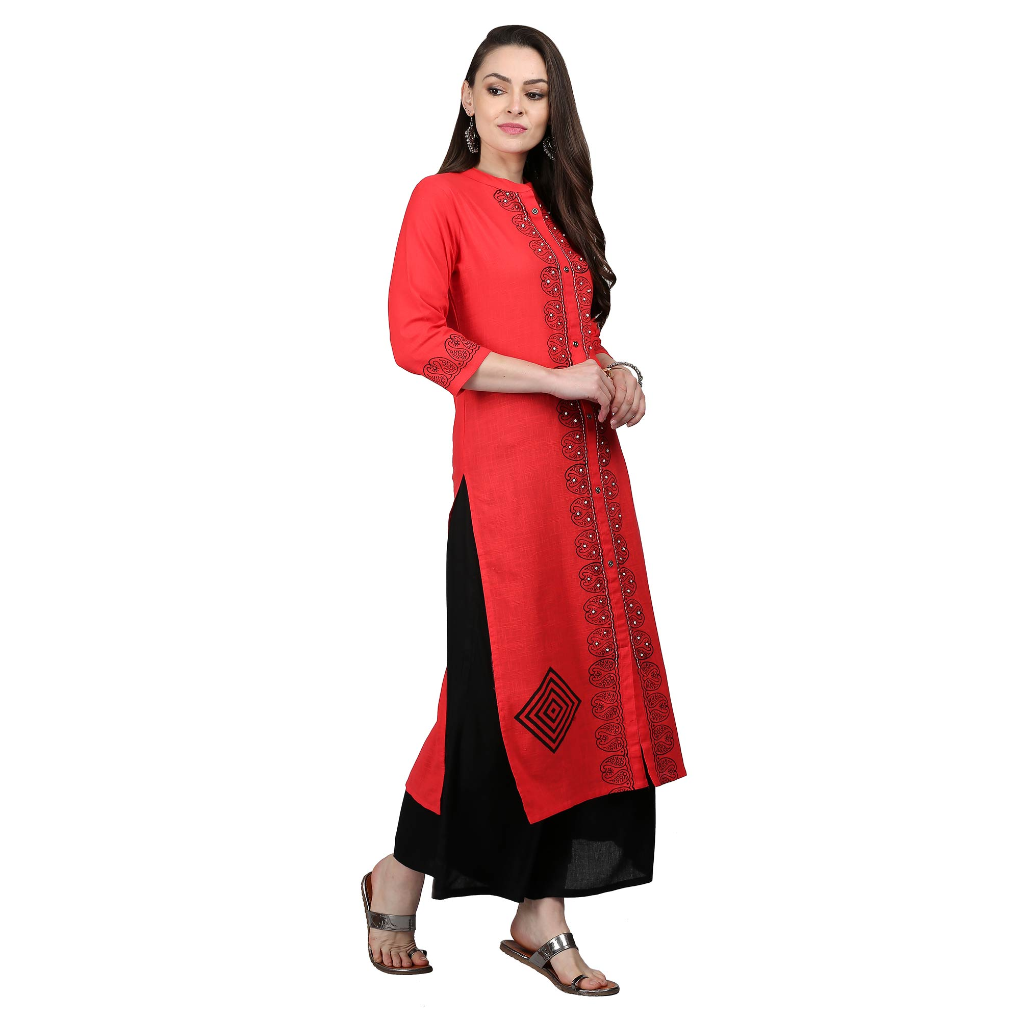 Gorgeous Coral Red Colored Casual Printed Cotton Kurti
