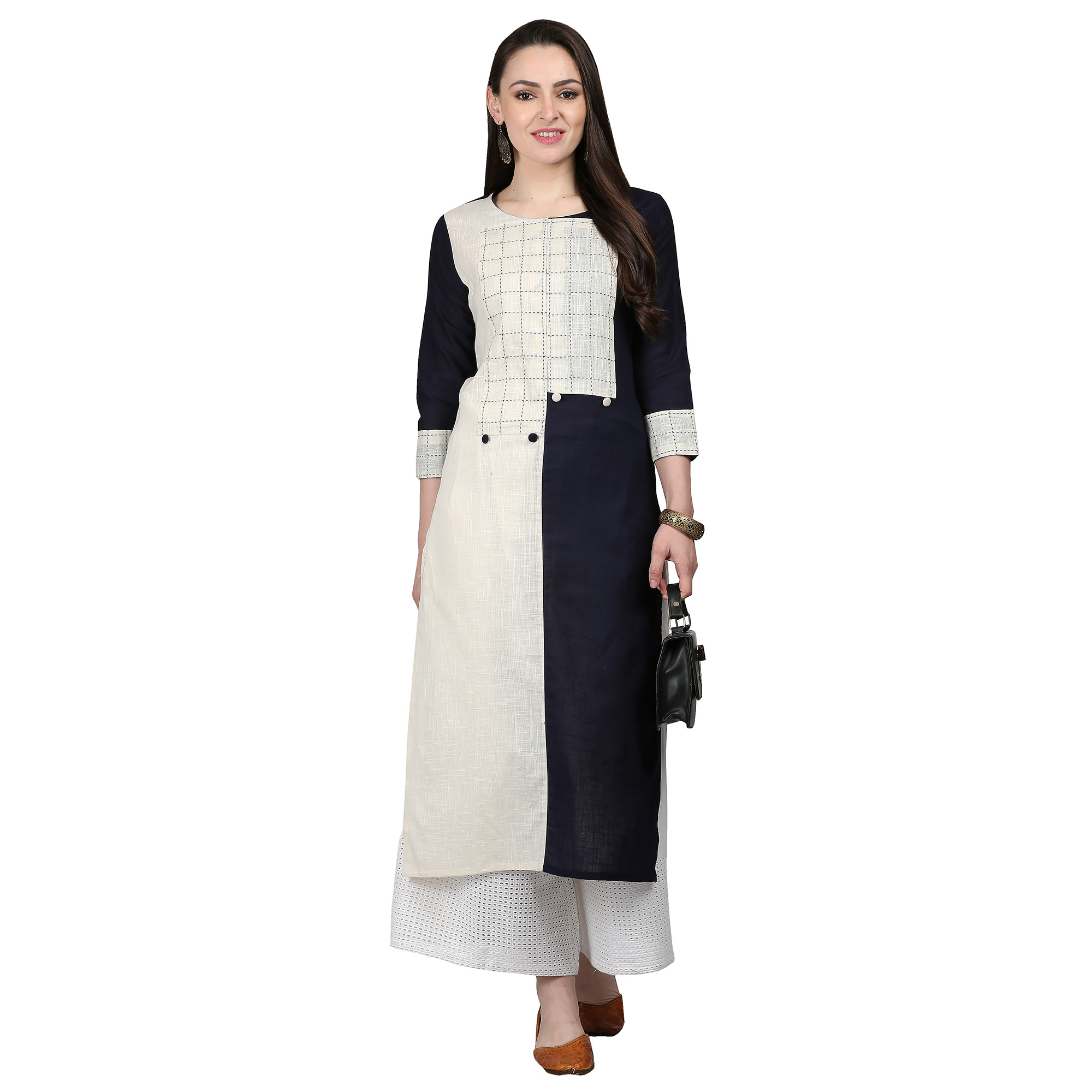 Blissful Off White Colored Casual Printed Cotton Kurti