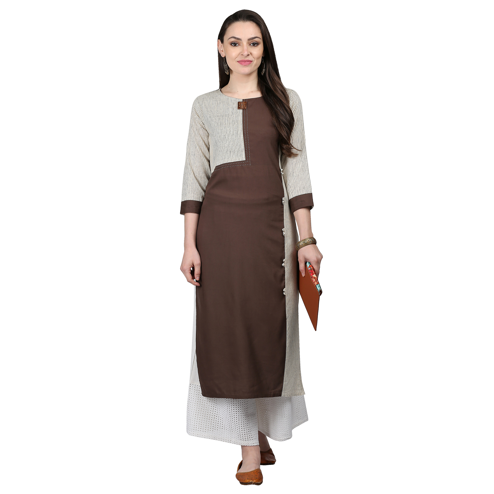 Ideal Brown Colored Casual Printed Cotton Kurti
