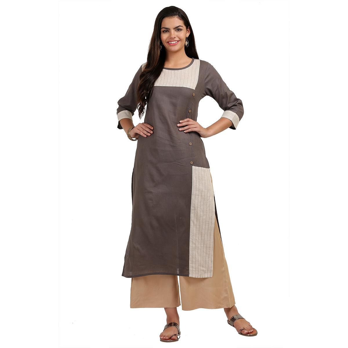 Imposing Gray Colored Casual Wear Cotton Kurti