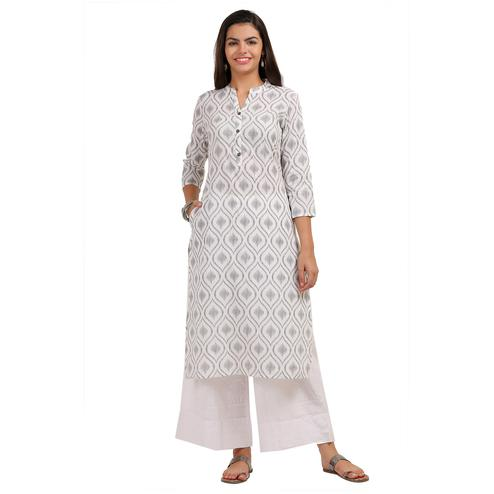 Lovely Off White Colored Casual Printed Cotton Kurti