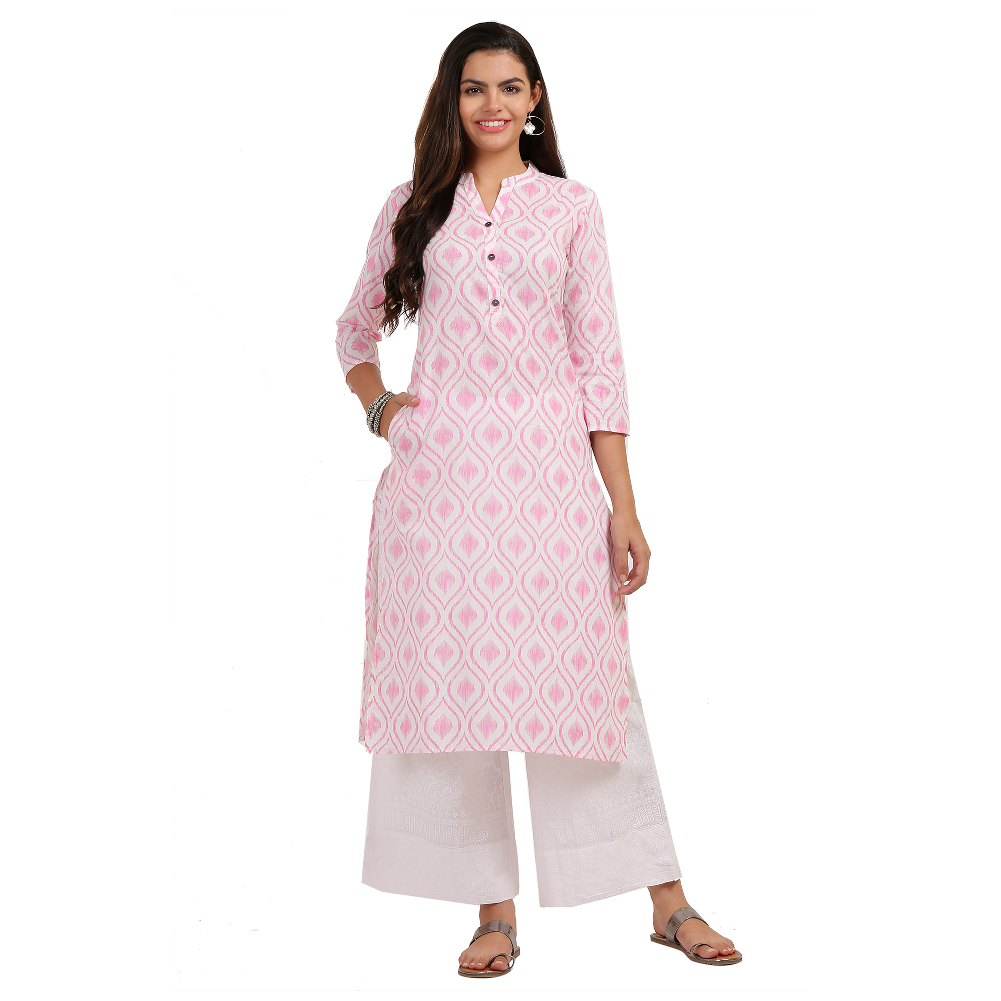 Majesty Pink Colored Casual Printed Cotton Kurti