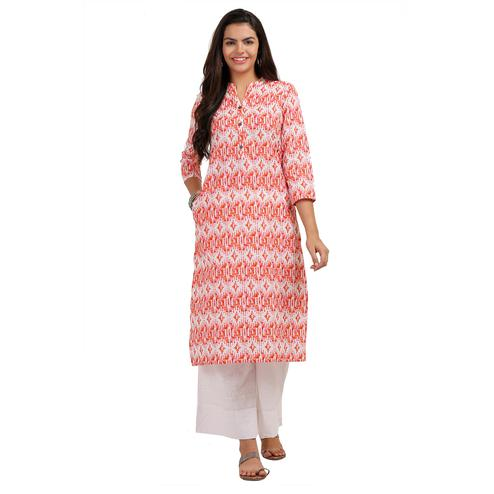 Impressive Red Colored Casual Printed Cotton Kurti