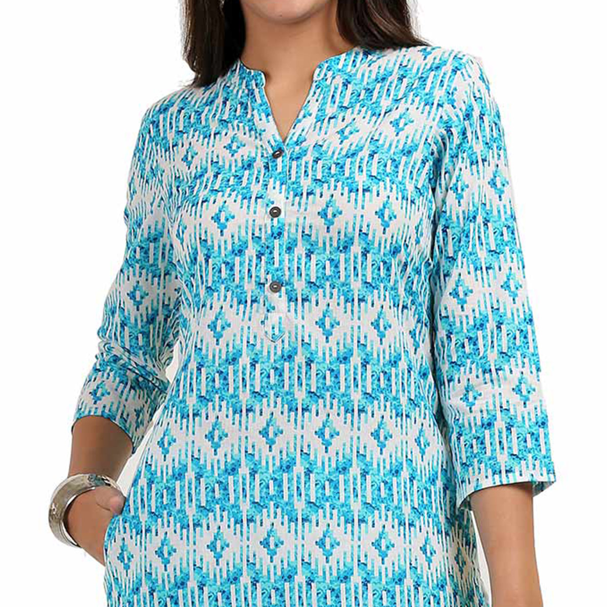 Groovy Blue Colored Casual Printed Cotton Kurti