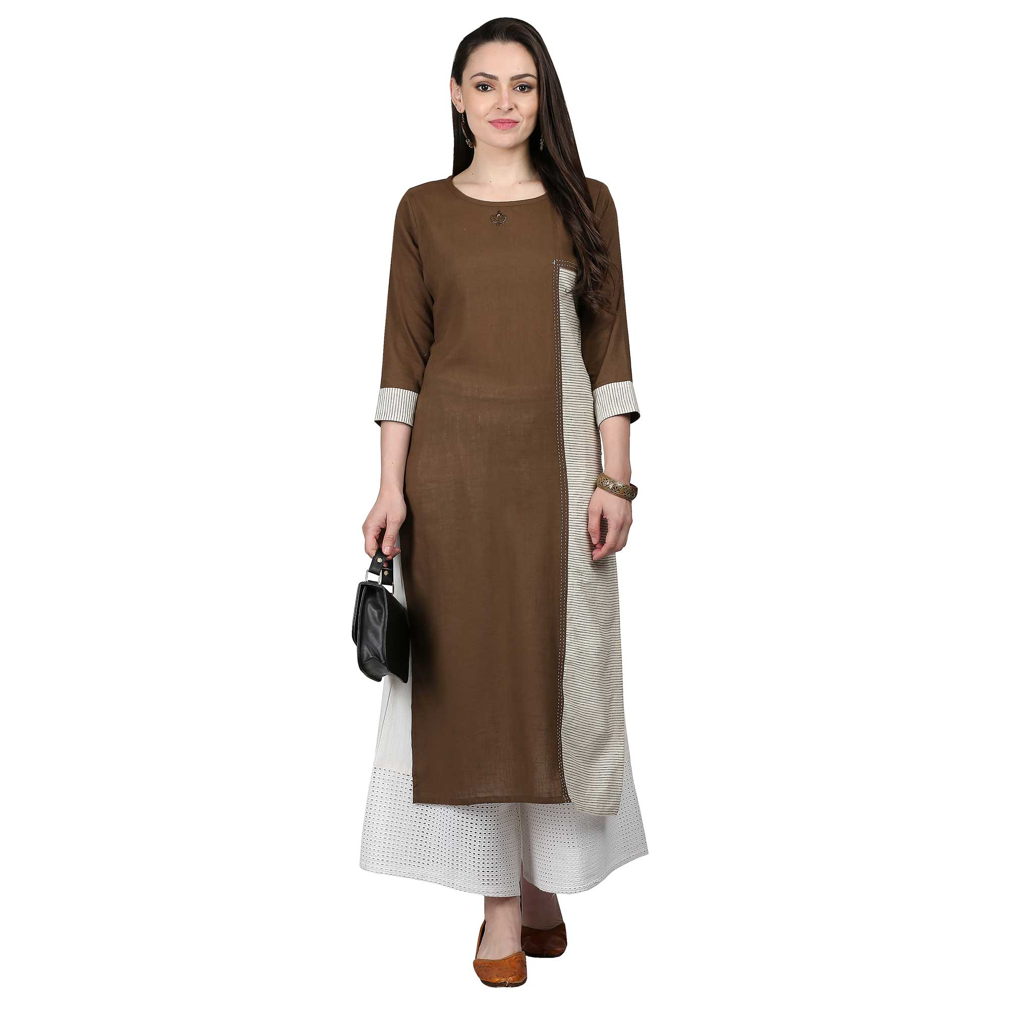 Elegant Brown Colored Casual Wear Cotton Kurti