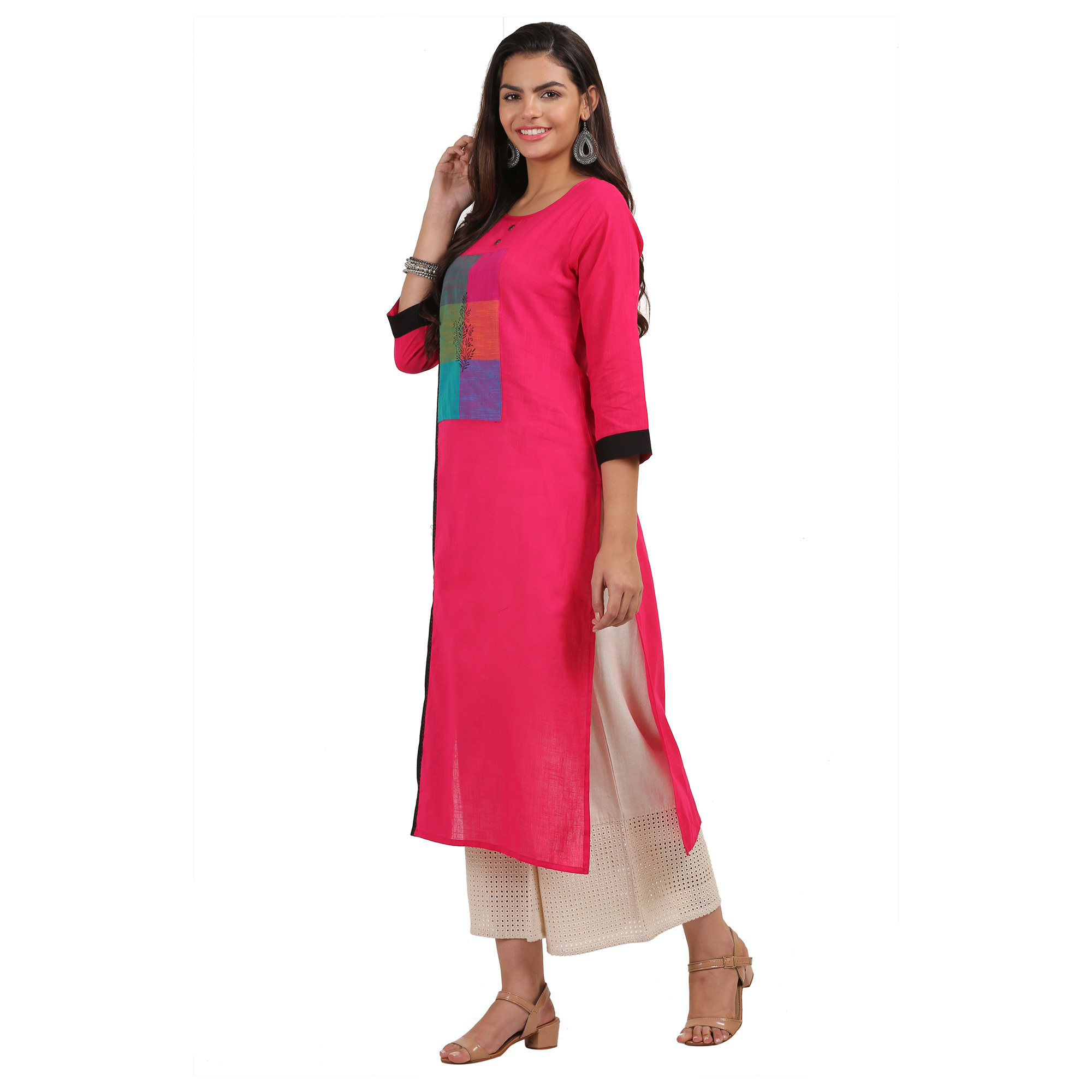 Pretty Pink Colored Casual Printed Cotton Kurti
