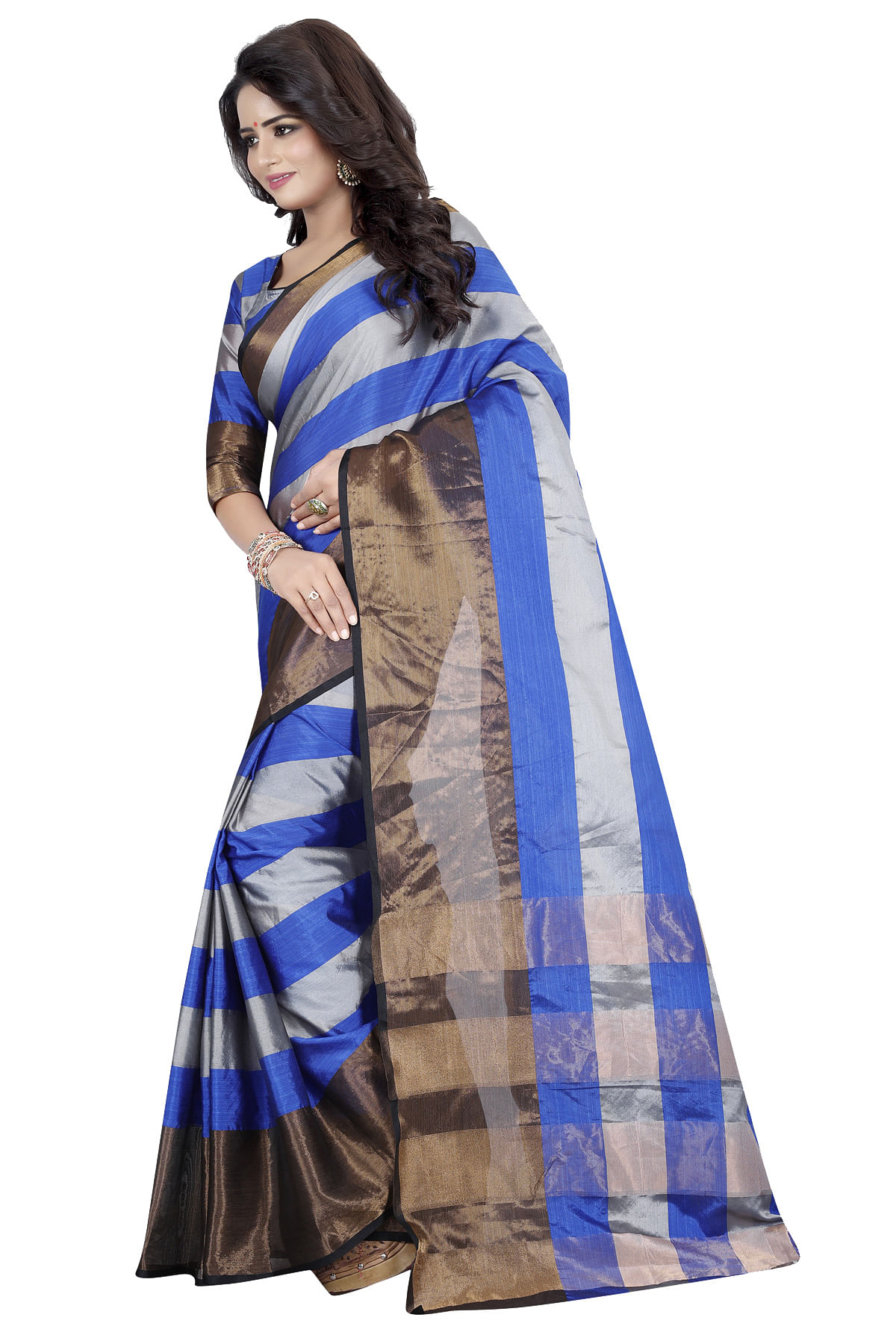Beautiful Blue Poly Cotton Casual Saree