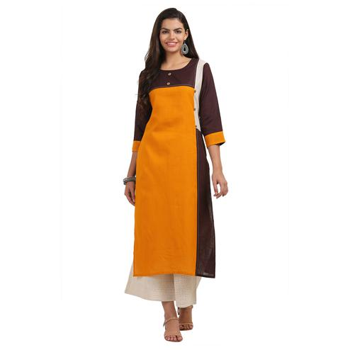Alluring Yellow Colored Casual Wear Cotton Kurti