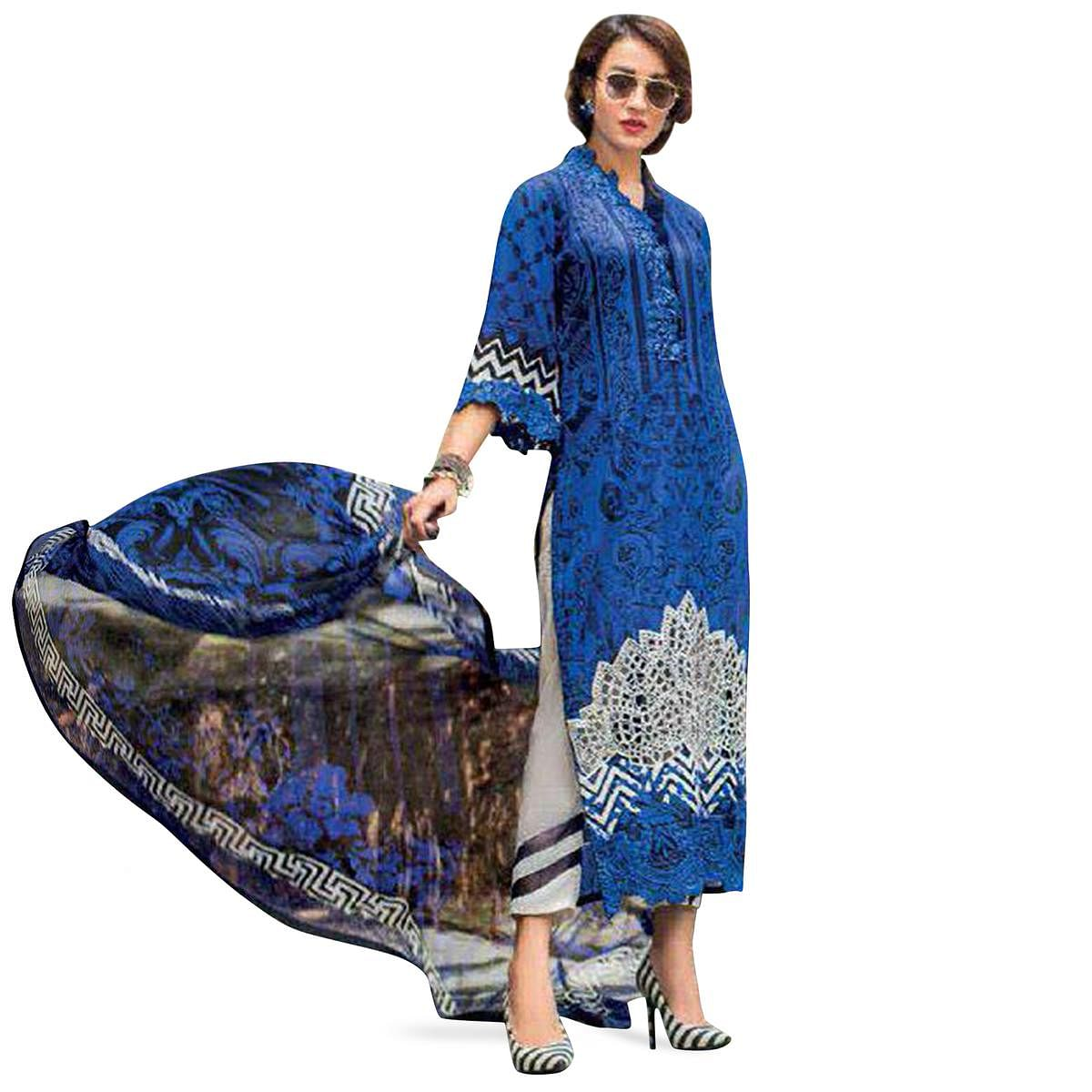 Amazing Blue Colored Partywear Embroidered Pure Cotton Suit
