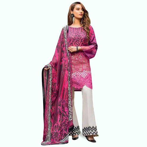 Gorgeous Pink Colored Partywear Embroidered Pure Cotton Palazzo Suit