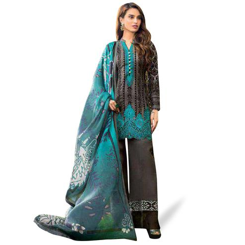 Imposing Black Colored Partywear Embroidered Pure Cotton Palazzo Suit