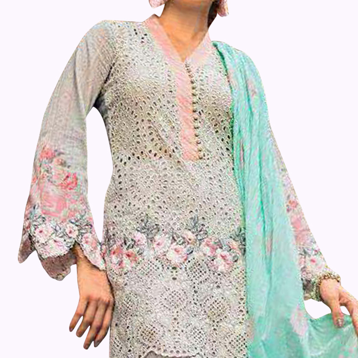 Staring Gray Colored Partywear Embroidered Pure Cotton Suit