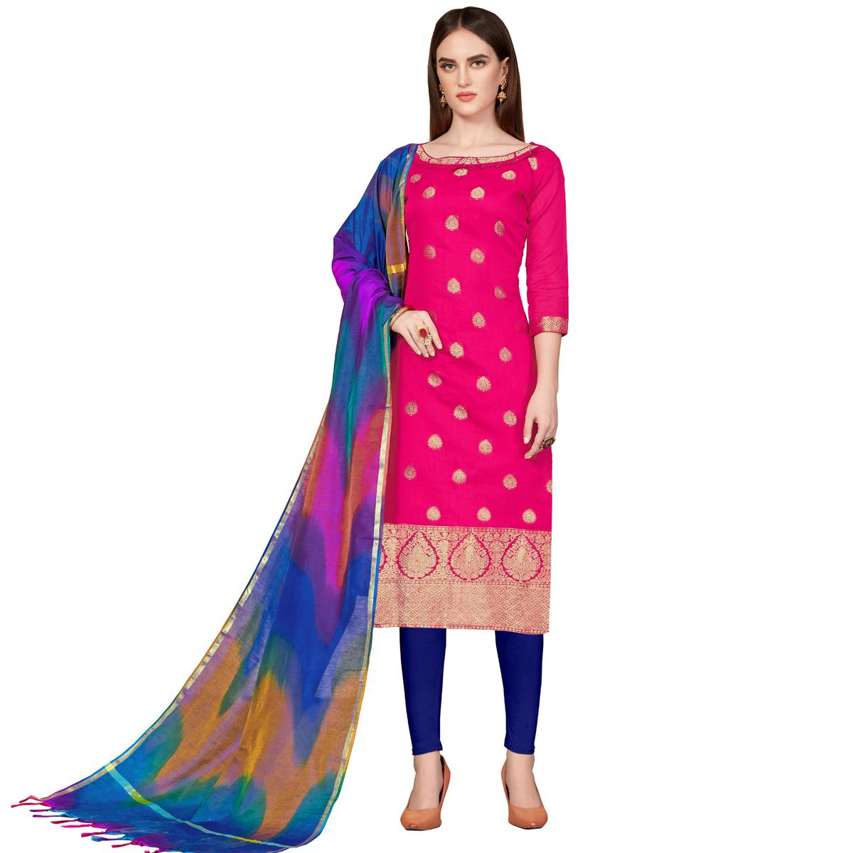 Engrossing Pink Colored Festive Wear Woven Banarasi Silk Dress Material