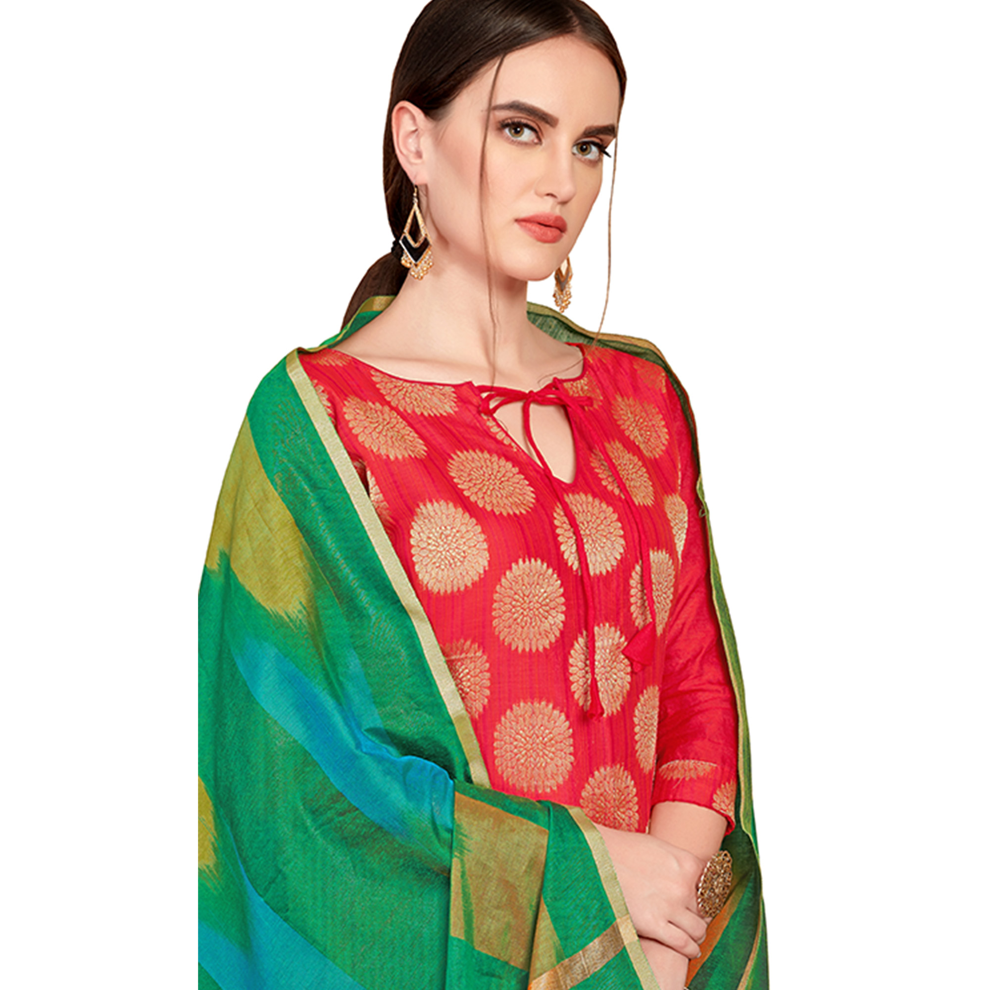 Captivating Red Colored Festive Wear Woven Banarasi Silk Dress Material