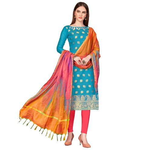 Innovative Blue Colored Festive Wear Woven Banarasi Silk Dress Material