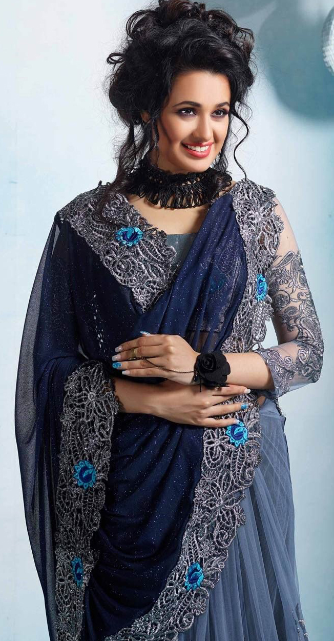 Gray And Blue Designer Partywear Embroidered Mono Net And Georgette Saree