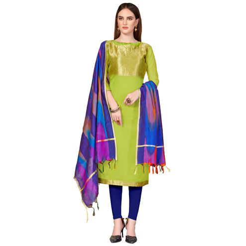 Fantastic Green Colored Festive Wear Woven Banarasi Silk Dress Material