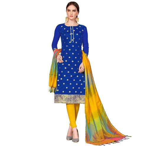 Amazing Royal Blue Colored Festive Wear Woven Banarasi Silk Dress Material