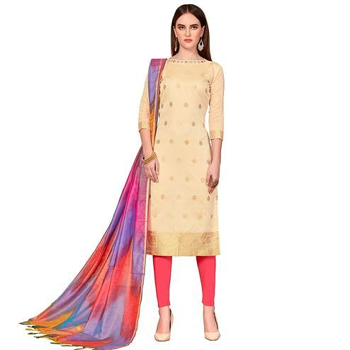 Gorgeous Cream Colored Festive Wear Woven Banarasi Silk Dress Material