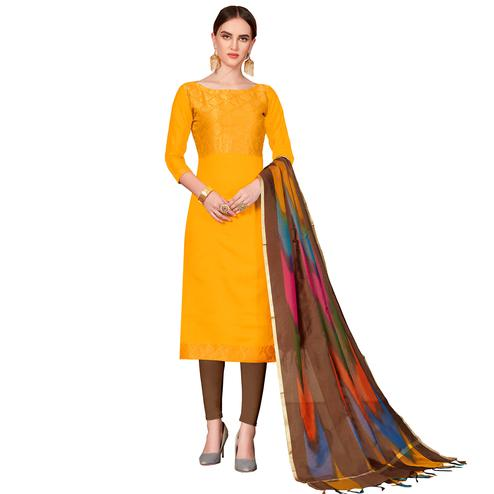 Hypnotic Mustard Yellow Colored Festive Wear Woven Banarasi Silk Dress Material