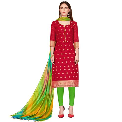 Flattering Red Colored Festive Wear Woven Banarasi Silk Dress Material
