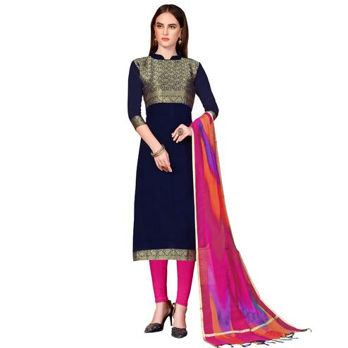 Excellent Navy Blue Colored Festive Wear Woven Banarasi Silk Dress Material