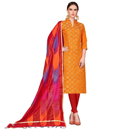 Preferable Orange Colored Festive Wear Woven Banarasi Silk Dress Material