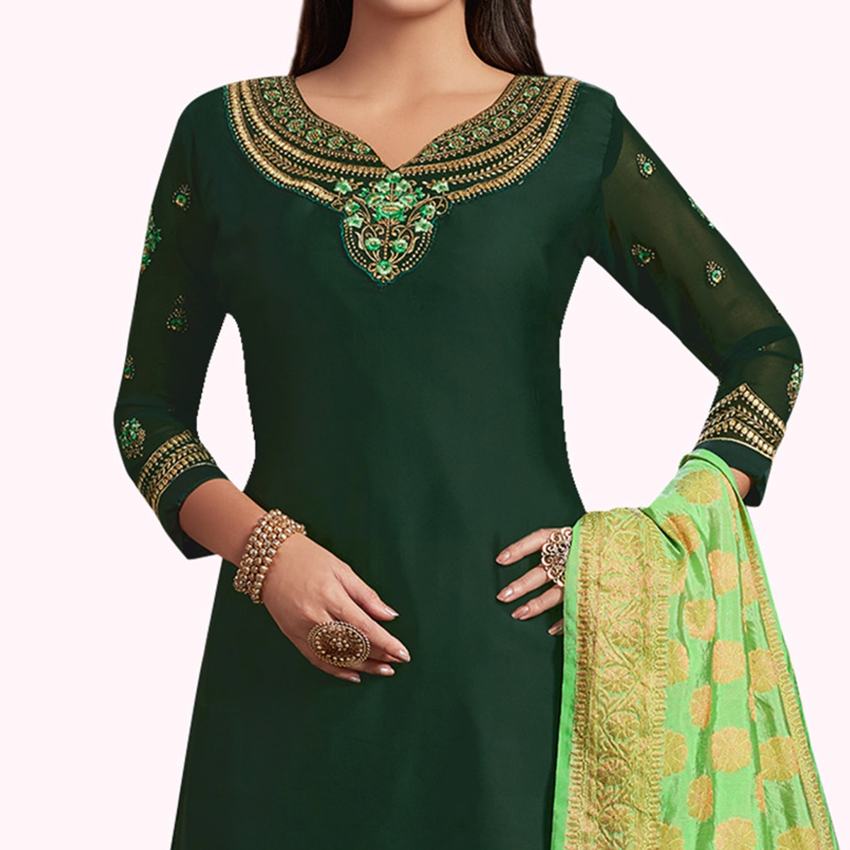 Flirty Green Colored Partywear Embroidered Satin-Georgette Palazzo Suit With Banarasi Silk Dupatta