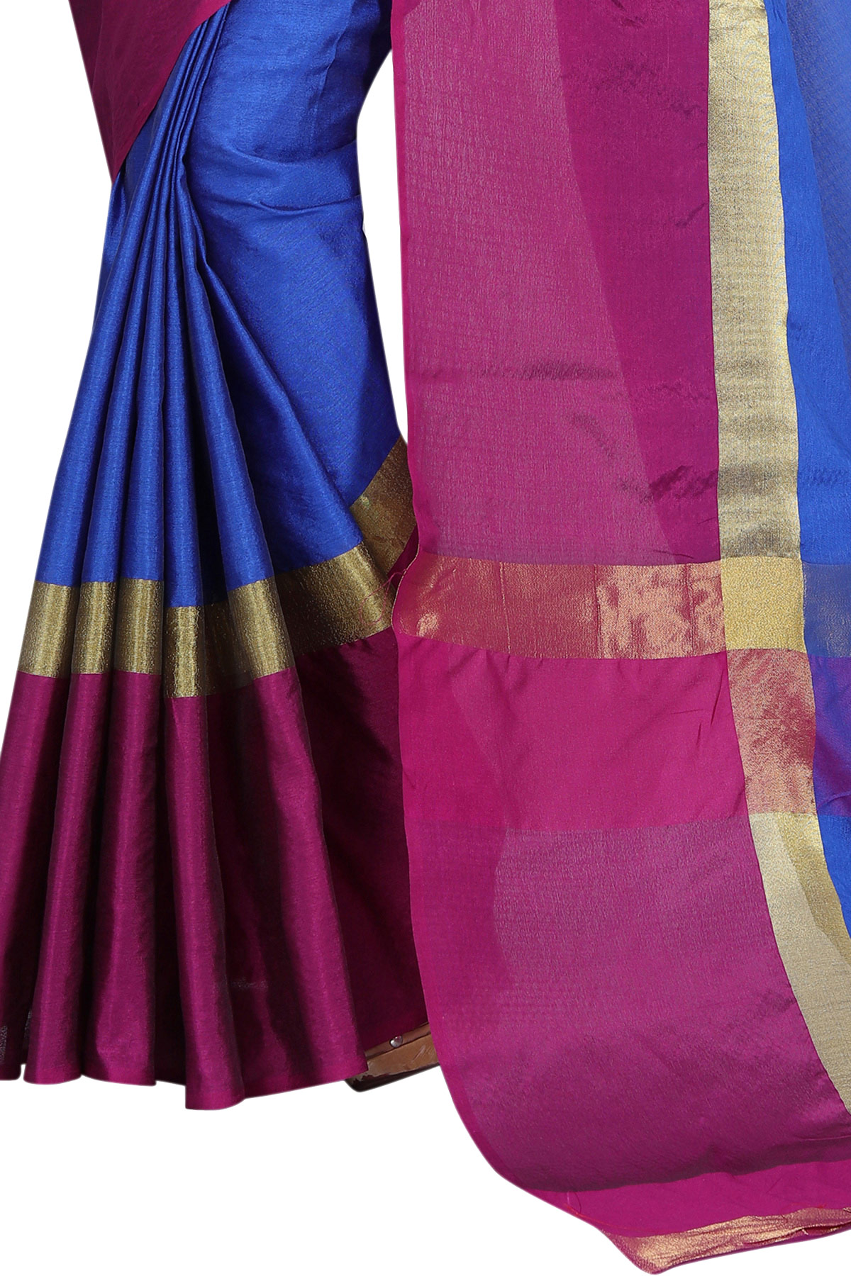 Lovely Blue Pink Poly Cotton Casual Saree