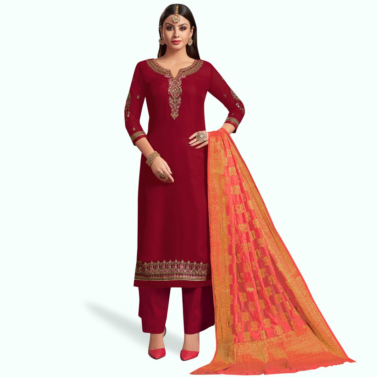 Pretty Red Colored Partywear Embroidered Satin-Georgette Palazzo Suit With Banarasi Silk Dupatta