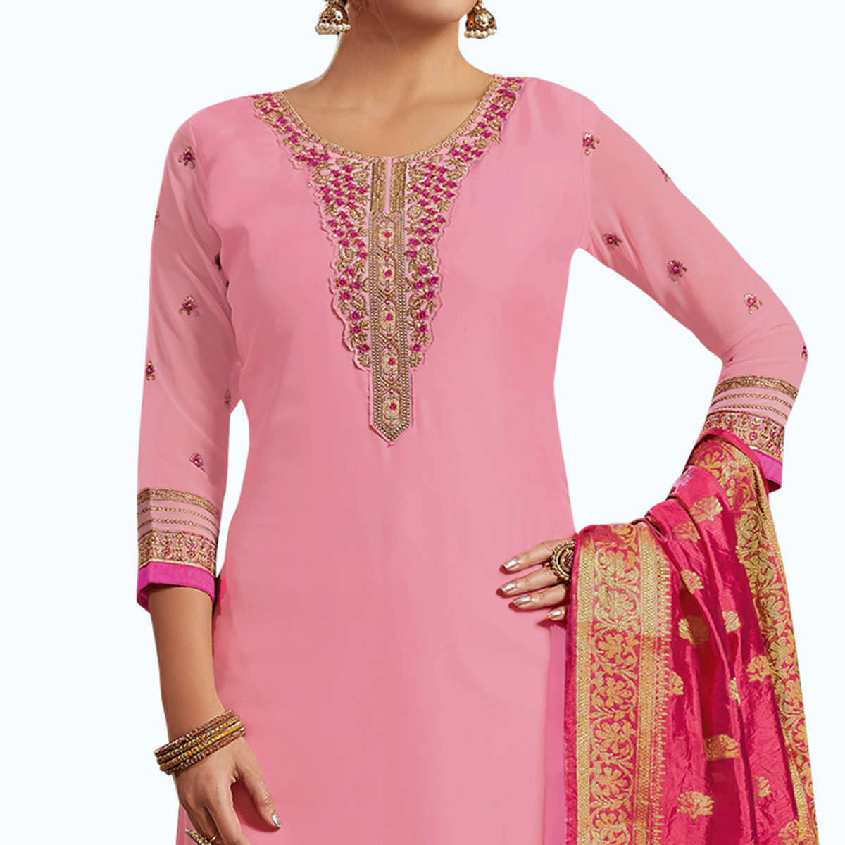 Alluring Pink Colored Partywear Embroidered Satin-Georgette Palazzo Suit With Banarasi Silk Dupatta
