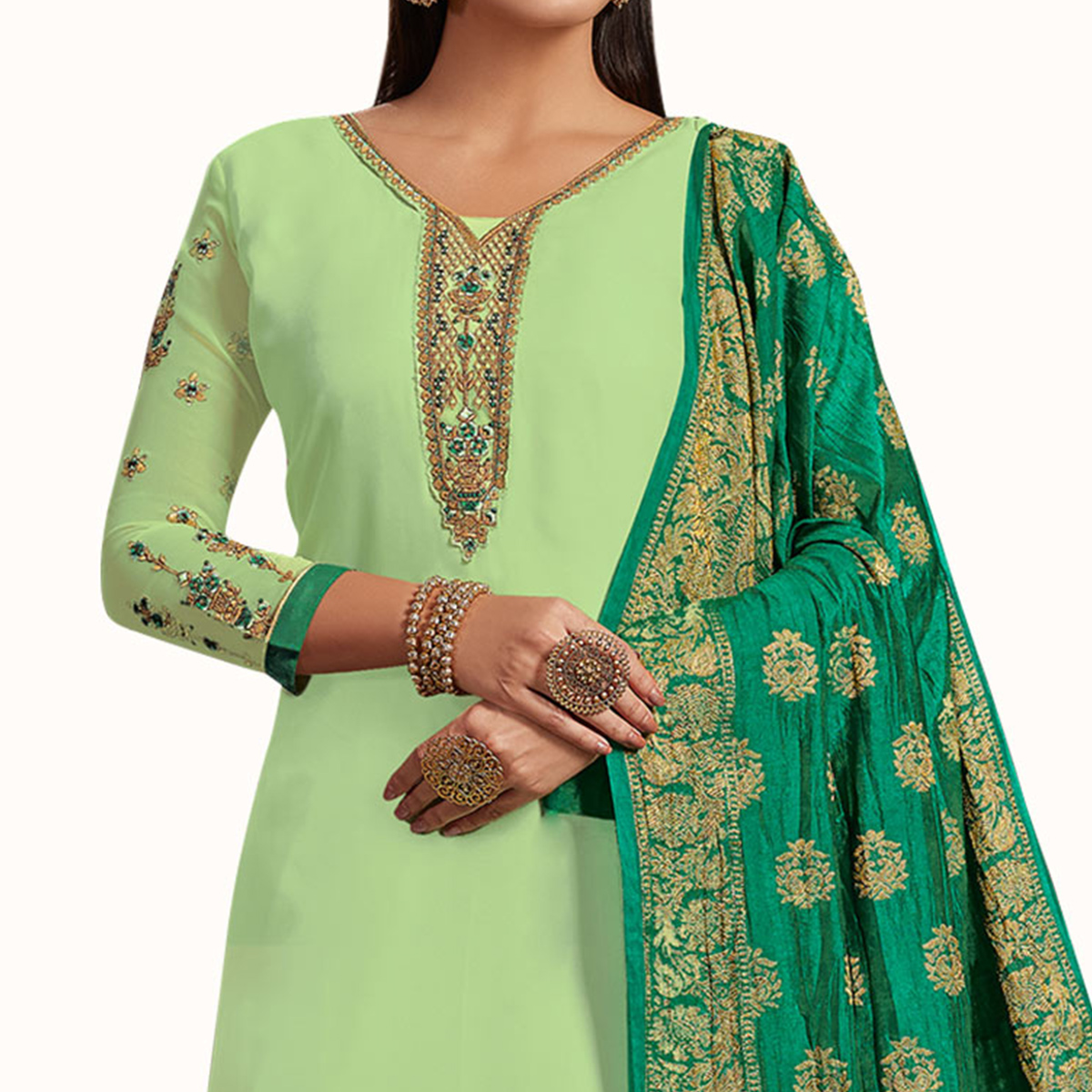 Staring Pista Colored Partywear Embroidered Satin-Georgette Palazzo Suit With Banarasi Silk Dupatta